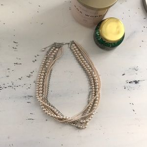Blush pearl and chain necklace